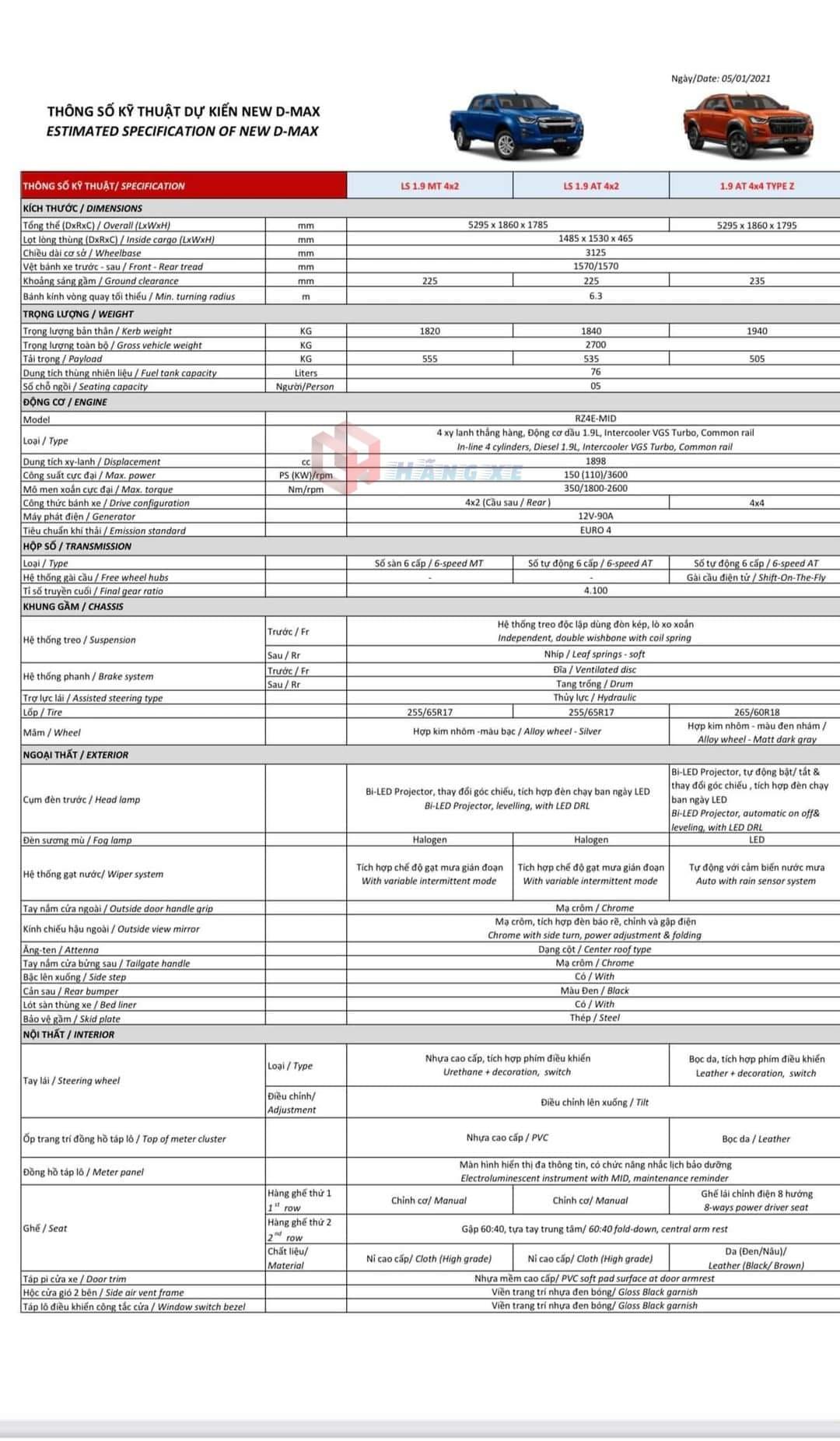 Bảng thông số kỹ thuật xe Isuzu Dmax 2021